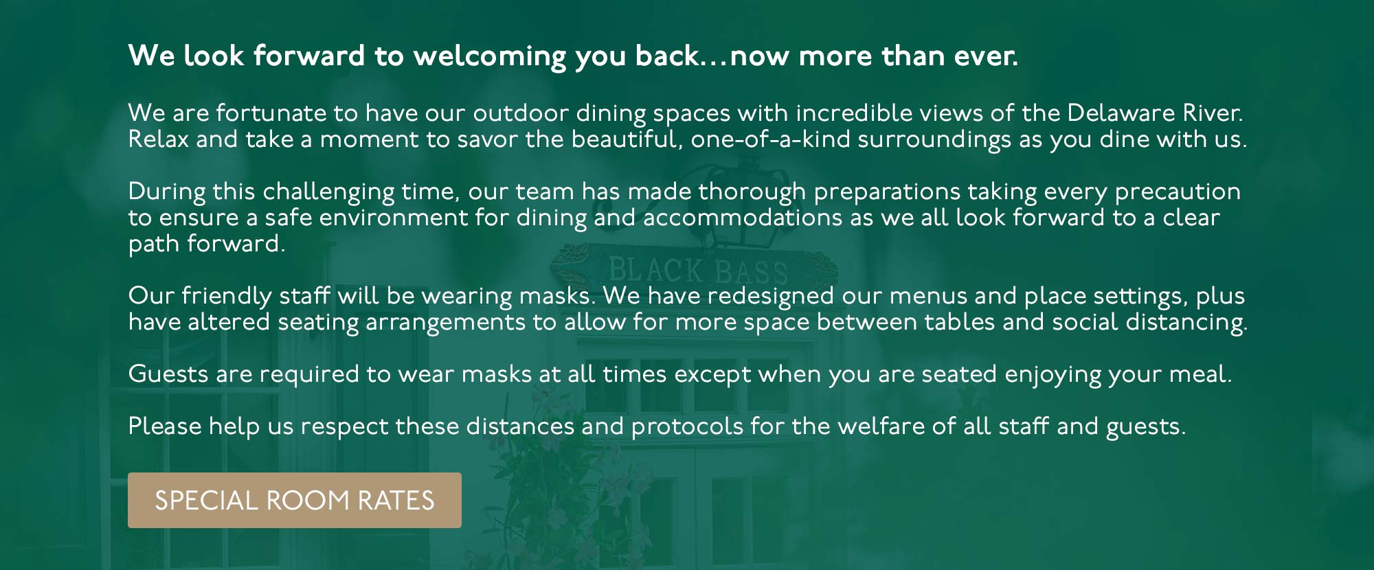 We look forward to welcoming you back to the Black Bass hotel. View our menus.